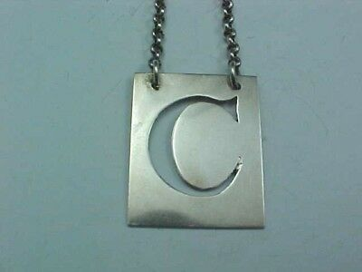 "SCOTTISH STERLING SILVER DECANTER WINE LABEL ""C"" CLARET GEO. McHATTIE EDINBURGH"