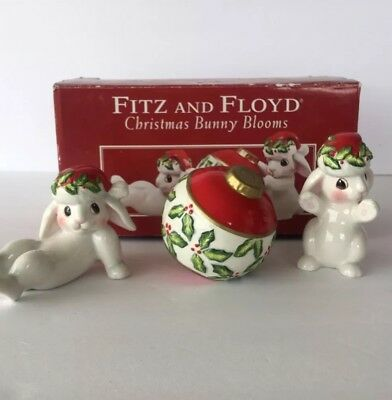 FITZ & Floyd Christmas Bunny Blooms Holiday Tumblers