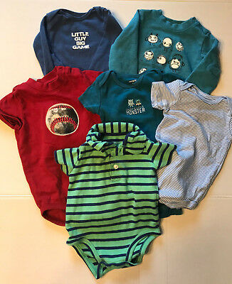 Lot of Six Mixed Baby Boys One Pieces Size 6-12m Carter's Gymboree