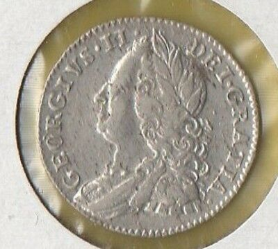 Nice circulated KGII 6 pence silver coin, 1758