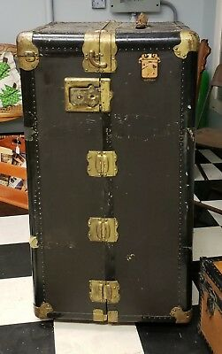 Vintage antique wardrobe Wheary Trunk Co Steamer Trunk