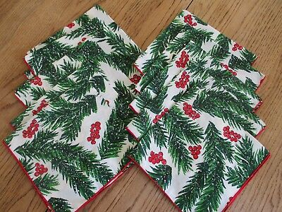 Vintage Christmas Napkins LOT of 10 Leacock  NEW, HOLLY BERRIES, PINE