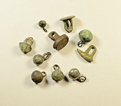 Scarce Lot Of 10 Ancient Bronze Buttons / Knobs