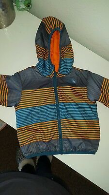 The North Face Boys 2T Reversible Hooded Jacket-Blue-Orange-Puffer Coat