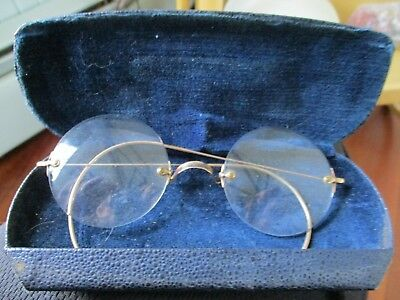 Antique Bausch and Lomb 10K Gold Granny Glasses Rimless Glasses