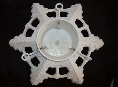 Vintage Cast Iron Snowflake Christmas Tree Stand John Wright 1992 USA White