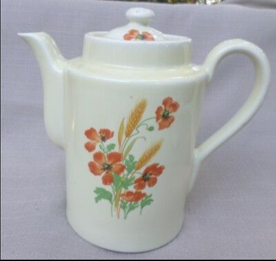 Vintage Hall Coffee Pot Orange Floral Pattern