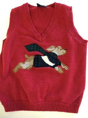 Children's Place Baby Boys Red Sleeveless Cable Knit Sweater Vest Flying Dog 3T