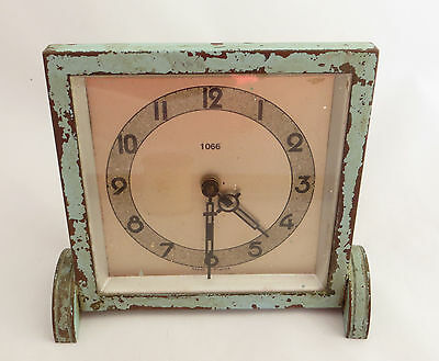 Distressed / Re-Painted ? Deco Style Bedside / Mantel Clock- 1066 Made In France