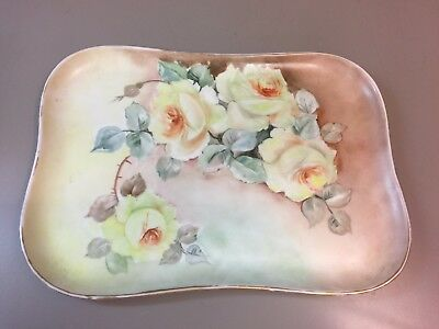 Antique Limoges France Dresser Tray with Hand Painted Roses Gilt Edge