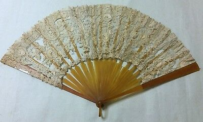 Victorian ANTIQUE BOBBIN LACE HAND FAN PLASTIC STICKS spares repair Eventail