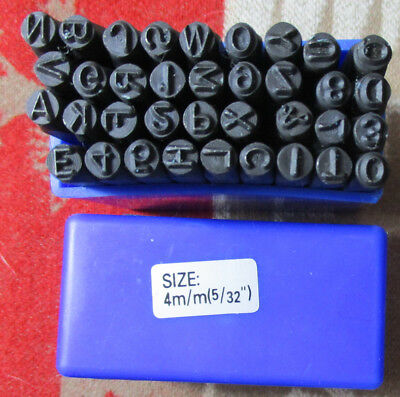 Vintage Set 36 Metal Stamping Blocks 4mm Each LETTERS AND NUMBERS Cast Iron