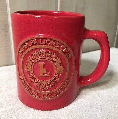 Frankoma Pottery  Mug Coffee Cup 1907-2007 Red Sapulpa  Oklahoma Lions Club G1