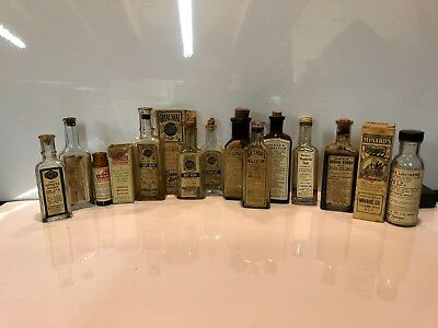 Lot Of 12 Labeled Antique Quack Medicine Bottles Apothecary Pharmacy