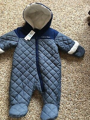 Calvin Klein Baby Boys' Hoodie Quilted Bunting / Snowsuit 6/9M NWT