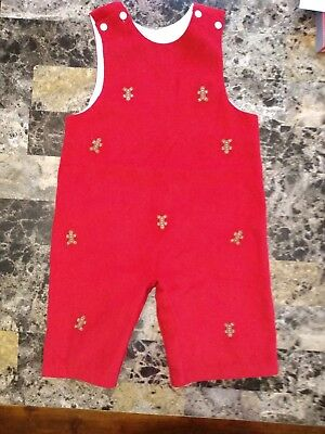 New smocked  Overall baby Boy  Red corduroy Christmas holidays 12M by Cukees