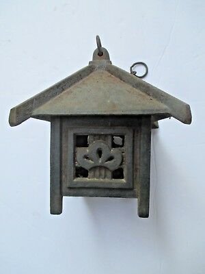 Vintage Cast Iron Garden Pagoda Japanese Table Lantern Candle Cover Votive 8478