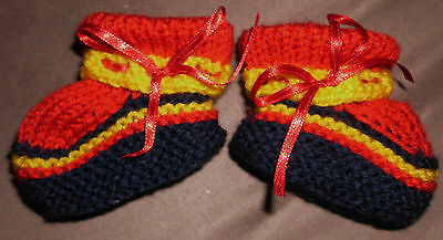 Footy Boots (8 Ply)  Hand Knitted Brand New