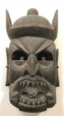 """Antique Chinese wooden mask with movable jaw and eyes, 10""""h"""