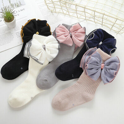 Girls Kids Childrens Pretty Big Bow Wedding Party Knee High Socks  2-10 years
