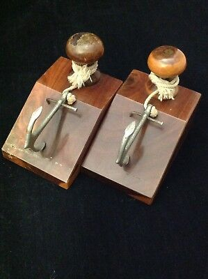 Vintage 1960 nautical hipster anchor bookends mulga wood  office man cave decor