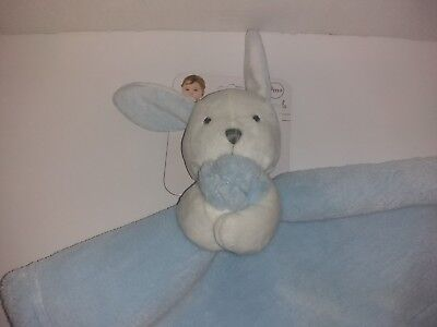 Blankets & Beyond Blue & White Bunny Rabbit Security Baby Blanket  * SHIPS FREE!