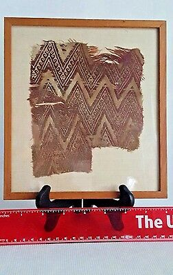 Antique Pre Columbian Textile Fragment 9th -12th Century Framed