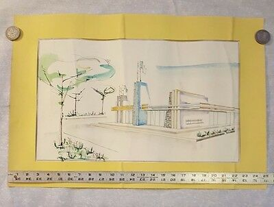 Vintage Original Water Color Architectural Drawing Signed by Artist