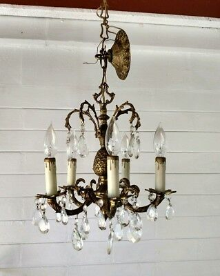 Vintage Spanish Ornate Petite 5 Arm Brass Chandelier lots of crystals