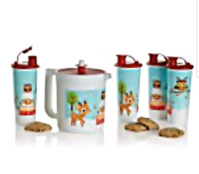 Tupperware New Christmas Holiday and Friends Pitcher and 4-16 oz Tumbler Set