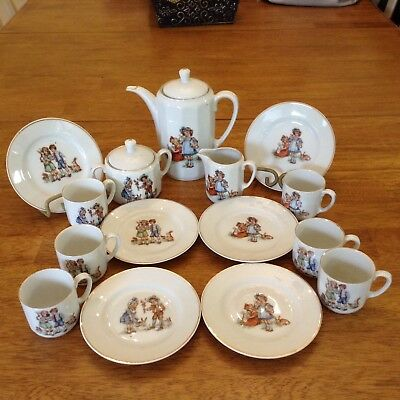 Antique Childs tea set, Germany, 17 pieces, (rabbits, boys and girls)