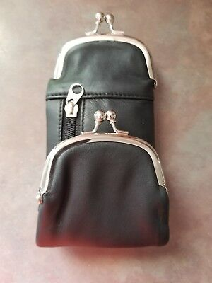 Marshal Full Leather Black 120's Cigarette Snap & Zip Case Coin Purse