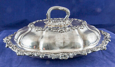 T&J Creswick Sheffield England Dish w Lid Silver Plate Copper Engraved Antique