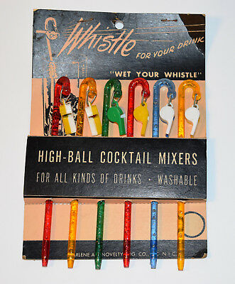 Lot of 6 Vintage Sparkling Wet Your Whistle Swizzle Sticks High-ball Cocktail Mi