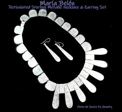 Maria Belen ~Noble~Reticulated Metallic Tear Drop Shape~925 Necklace/Earring SET