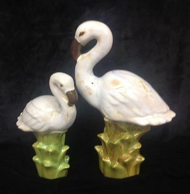 White Ceramic Flamingo Statues Set of 2  16 In. and 12 In. Tall SHIPS FREE