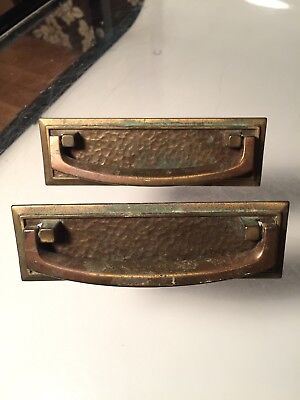 2 Vintage Art Deco Aged Brass Drawer Pull Handles Bail Handle Hammered Patina