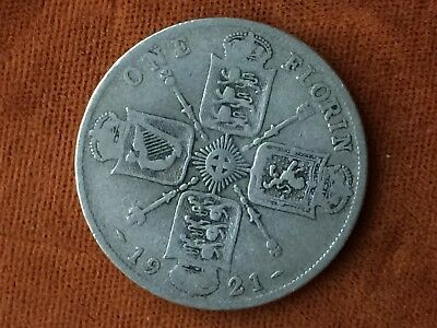 c34  UK Great Britain  1 Florin 1921 Large Silver coin. Great condition! Look!