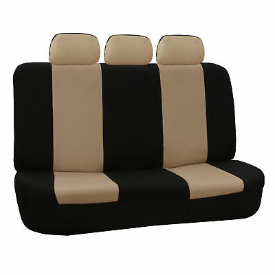 FH Group Beige and Black Flat Cloth Auto Bench Seat Covers