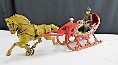 Antique-Vintage-Hubley Cast Iron Driver and Sleigh Rare Color. 1900-1910