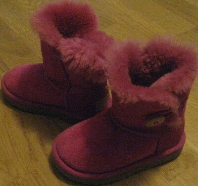 b91b8b63e UGG Girl's Size US 8 UK 7 Bailey Button Button Suede Leather Pink Boots SN  5991T