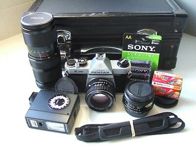 Pentax K1000 Camera Kit with 3 Lenses, Flash, Case and more