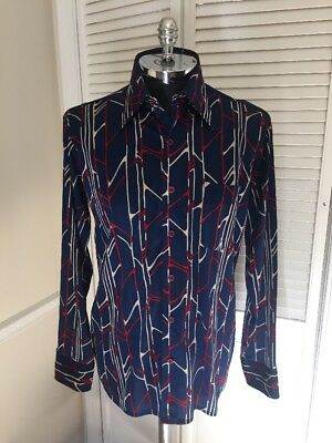 Vintage ARROW Sportswear navy, red and white 70's style button down - Size Large
