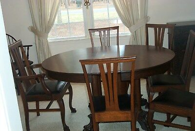 Wow Ex Antique Tiger Oak Dinning Room Set 6 Chairs-4 Leaves Craved Feet