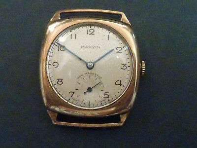 9ct GOLD CUSHION SHAPE WRISTWATCH BY MARVIN DENNISON CASE 1949