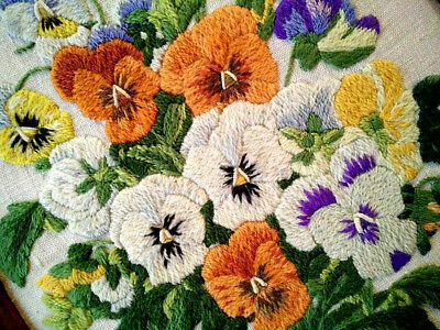Stunning Vintage Pansy/Pansies ~ Hand Embroidered Wood Framed Picture