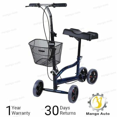 New Steerable Foldable Knee Walker Scooter Turning Brake Basket Drive Cart