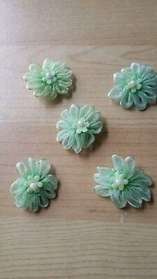 5 Green flower with pearl embellishments for applique, scrapbooking, card making
