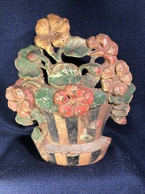 Antique Victorian Era Cast Iron Striped Planter W/ Flowers Door Stop 7.5 X 7 X 2