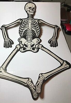 "24"" H. E. Luhrs Halloween Die Cut Skeleton Decoration 1940s-1950s"